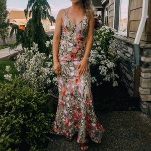 Embroidered Floral Prom Dress